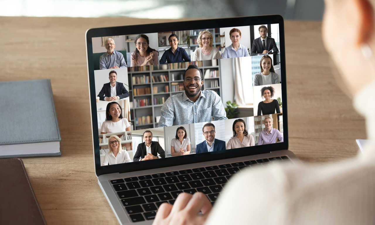 Person hosting virtual video conference event.